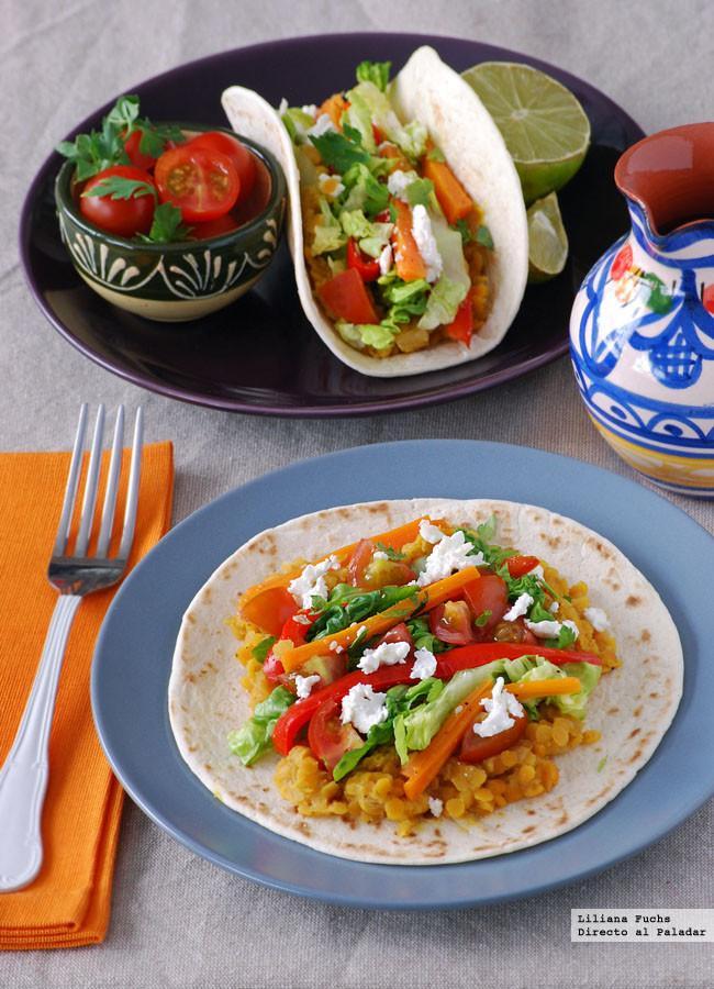 Tacos de lentejas al curry receta vegetariana - Cocina facil para sorprender ...