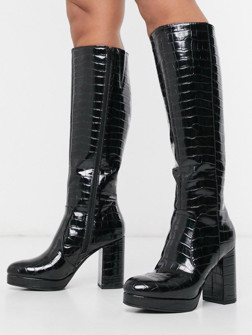 Botas de caña alta de tacón con plataforma en negro de New Look