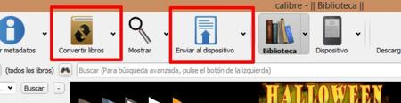 Botones de Calibre para enviar archivos al Kindle o convertirlos