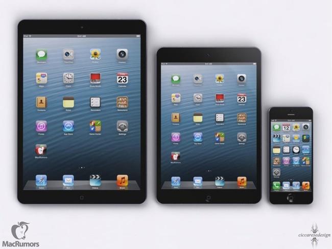 Comparativa del nuevo iPad (falso) con el iPad mini y el iPhone 5 (verdaderos)