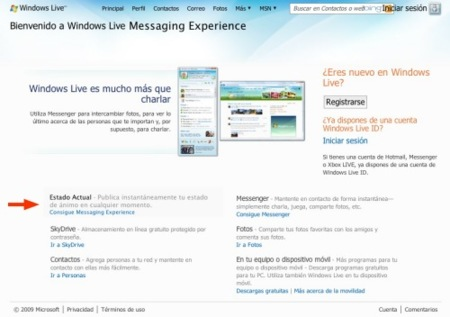 Windows Live Messaging Experience en el portal de Windows Live