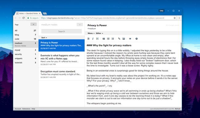 Standard Notes, una app de notas minimalista, multiplataforma y open source enfocada en la privacidad