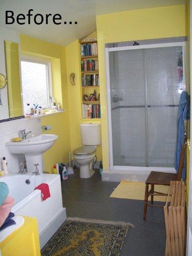 Antes y despu s un ba o amarillo que se pasa al azul for Bano de color antes y despues