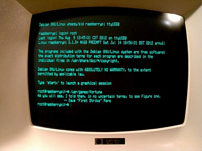 Terminal conectado a una Raspberry Pi