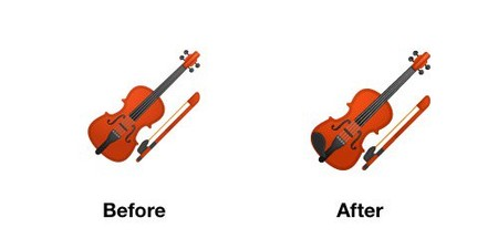 Violin Emoji Android P Before After