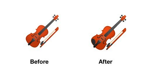 Violin Emoji Android-OS P Before After