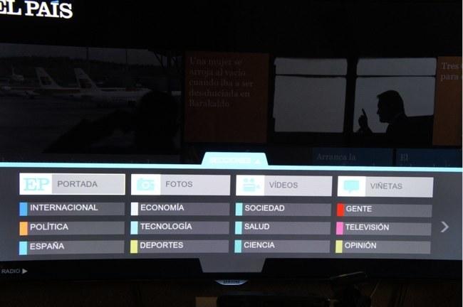 Distintas secciones del periódico, accesibles desde la parte inferior de la pantalla
