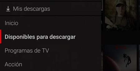 Netflix Descarga Menu