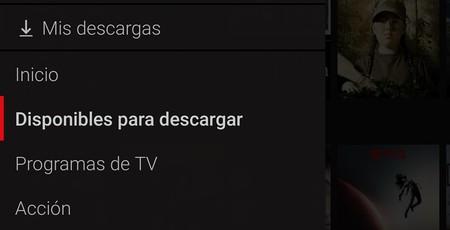Netflix Descarga Menu