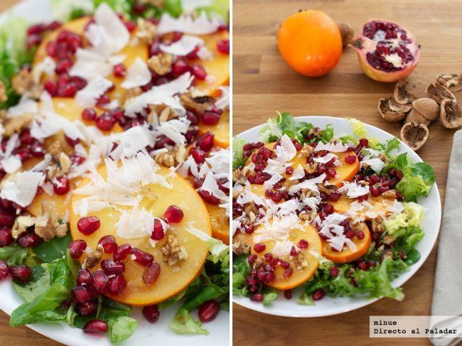 Ensalada de persimón y granada - presentación