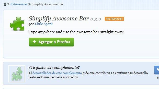 Abre una dirección en Firefox escribiéndola directamente, sin pinchar en la barra de direcciones
