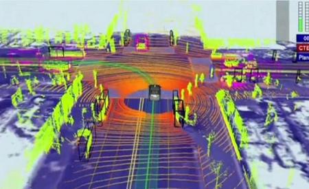 Imagen tridimensional generada por el LIDAR del Coche autónomo de Google