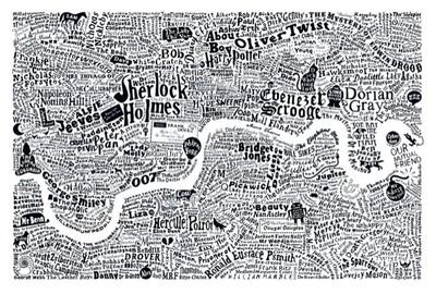 El cartel que representa un mapa de la literatura británica ambientada en Londres