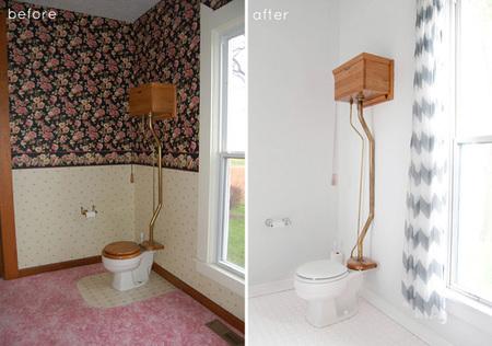 Baño florido - antes y después 2