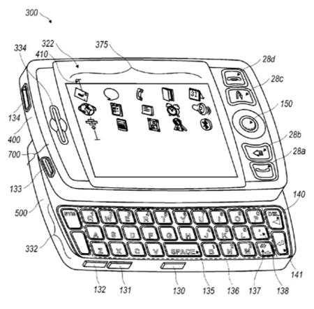Blackberry táctil y con teclado, patente