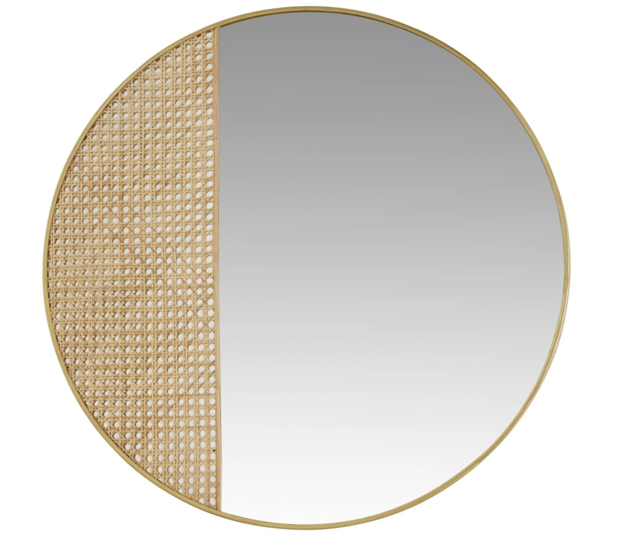 Espejo de metal dorado de rejilla de mimbre D.91