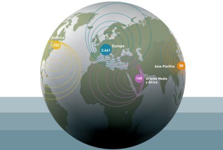 Distribución internacional de las tiendas en 2006