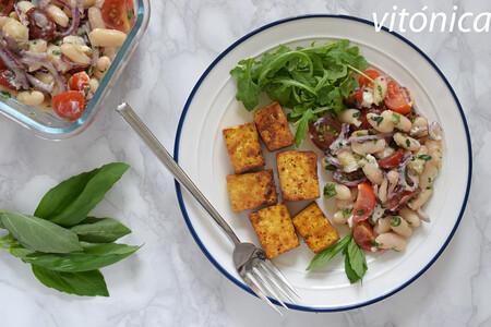 Ensalada De Alubias Blancas Con Tofu Al Curry