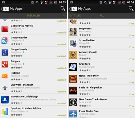 Google Play 3.5.15 permite consultar todas nuestras descargas desde el smartphone