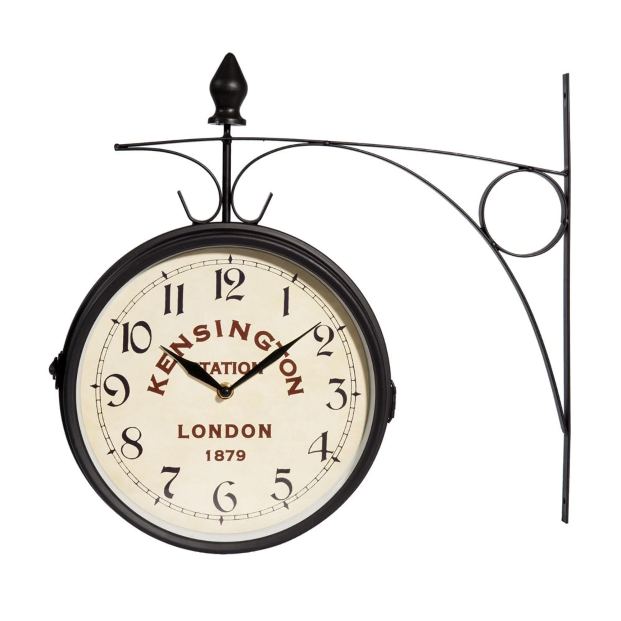 Reloj de estación de metal negro 42x24