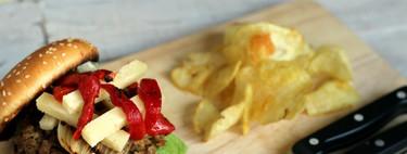 Hamburguesas de secreto ibérico con cebolla y queso manchego. Receta