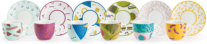 Excelsa Radical - Juego de 6 tazas de café con plato, porcelana, multicolor