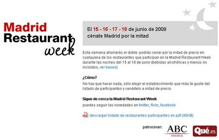 Madrid restaurant Week: restaurantes al 50%