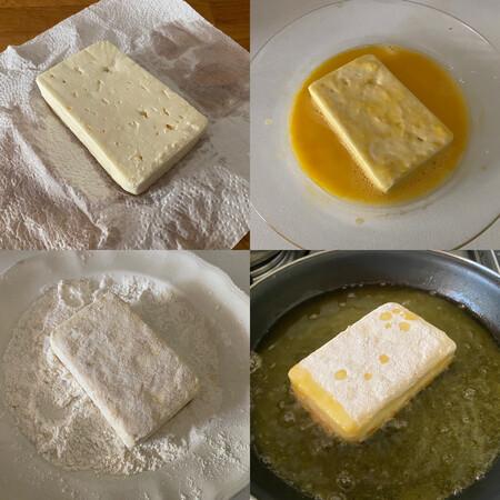 paso a paso saganaki o queso feta frito