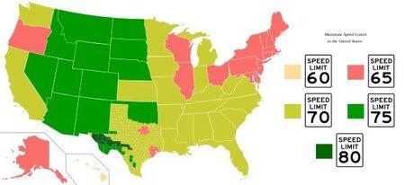 Velocidades maximas en Estados Unidos