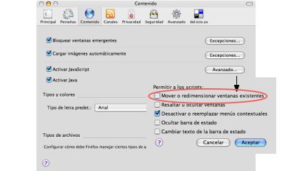 Deshabilitar el redimensionado de ventanas en Firefox