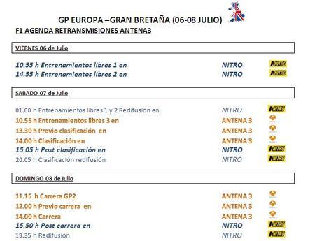 Horarios Gran Bretaña Antena 3 F1 2012