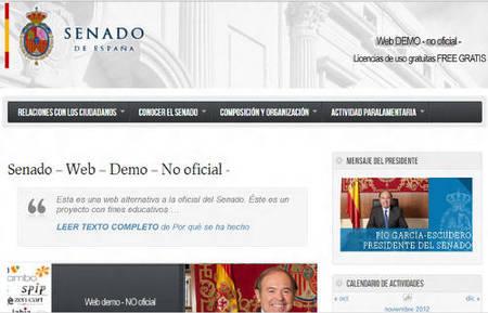 Web no oficial del senado hecha con software libre
