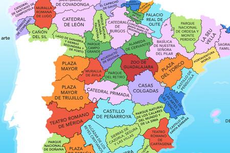 Las atracciones turísticas más populares de cada provincia de España, reunidas en un mapa