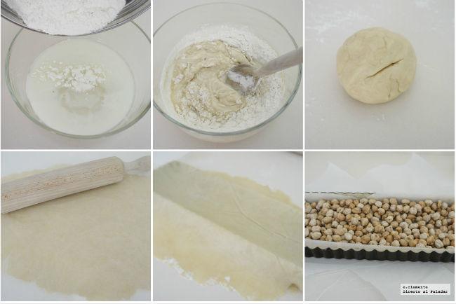 Paso a paso masa tarta crujiente de mascarpone y frambuesa