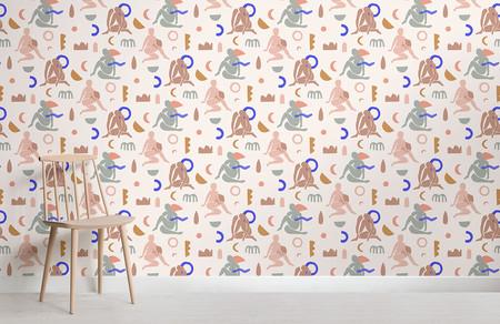 Papel Pintado Con Motivos Repetidos De Figuras Humanas Y Formas Abstractas Colores Neutros Pastel Chair Shot