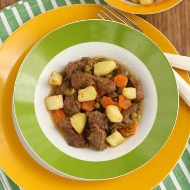 Ternera con guisantes y zanahorias, receta