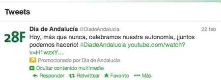 ¿Es necesario publicitar el Día de Andalucía en Twitter con tweets patrocinados?