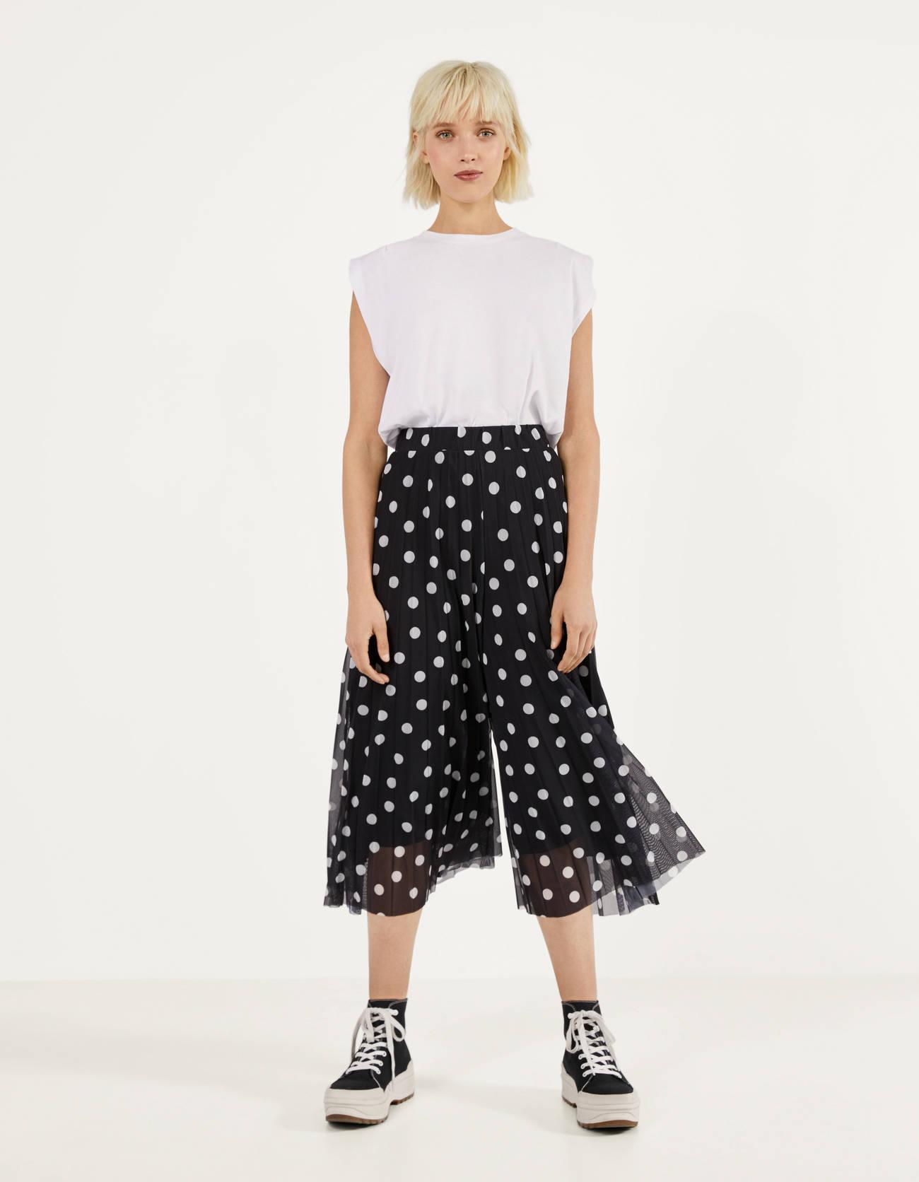 Pantalón culotte amplio de tul