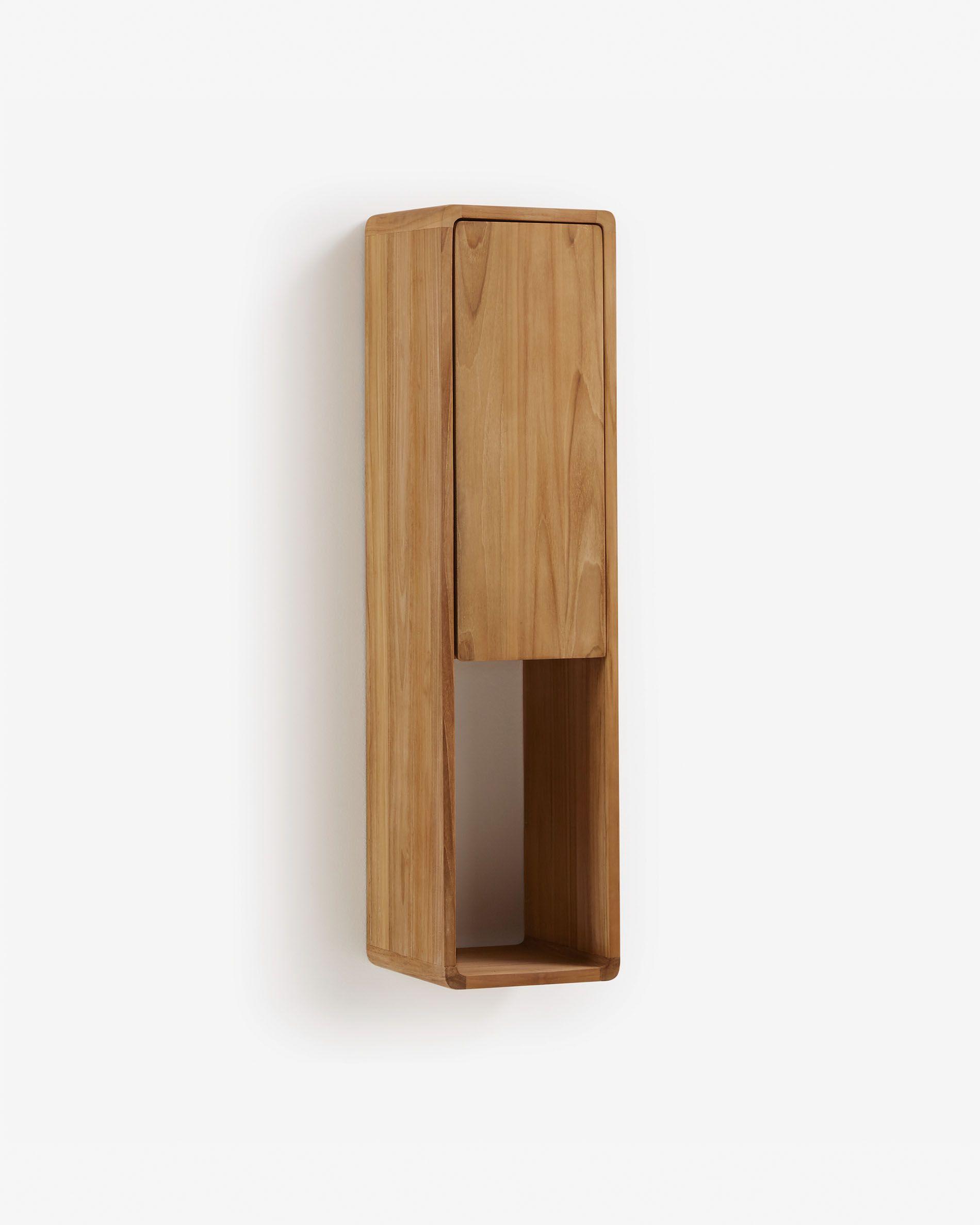 Armario de baño de pared Kuveni 25 x 100 cm de madera maciza de teca