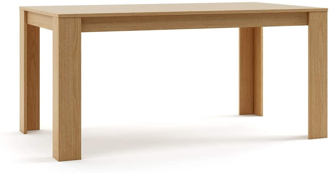 Mc Haus TROTTER - Mesa Comedor Madera Natural salon, Mesa cocina oficina de Diseño Rectangular con patas de madera 160x90x75cm
