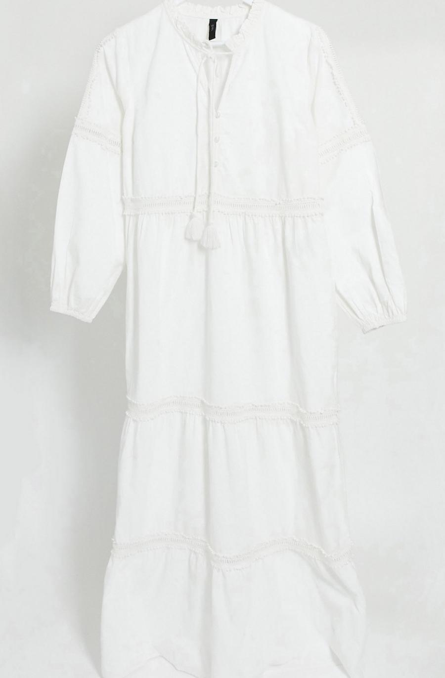 Vestido largo de algodón blanco con lazada en el cuello y bordado inglés de adorno de Y.A.S