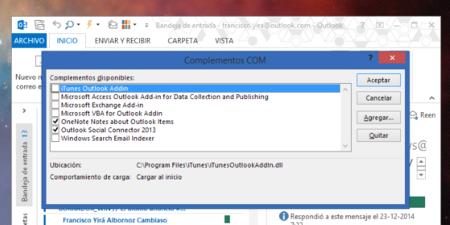 Haz que Outlook se inicie más rápido eliminando los add-ons innecesarios instalados por iTunes