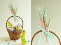 Zanahorias hechas con hojas de maiz para decorar cestas o mesas en Pascua