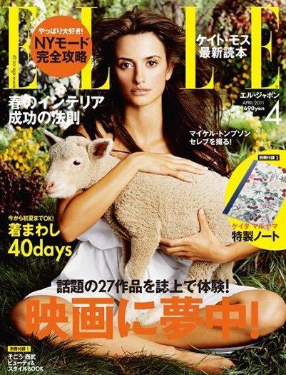 El retorno a las portadas de Penélope Cruz con un look natural y sencillo en Elle Japón