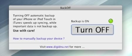 BackOff, cómo desactivar las copias de seguridad del iPhone / iPod touch en la sincronización