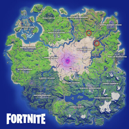 Mapa rosa de Fortnite