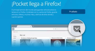Así es la integración de Pocket en Firefox que ha presentado Mozilla
