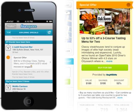 Foursquare incluye las ofertas de LivingSocial, pronto llegarán las de Groupon