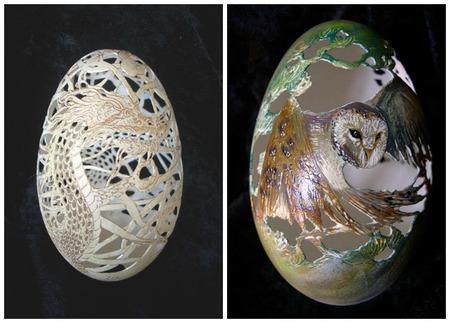 Christel Assante realiza hermosas tallas en cáscaras de huevo