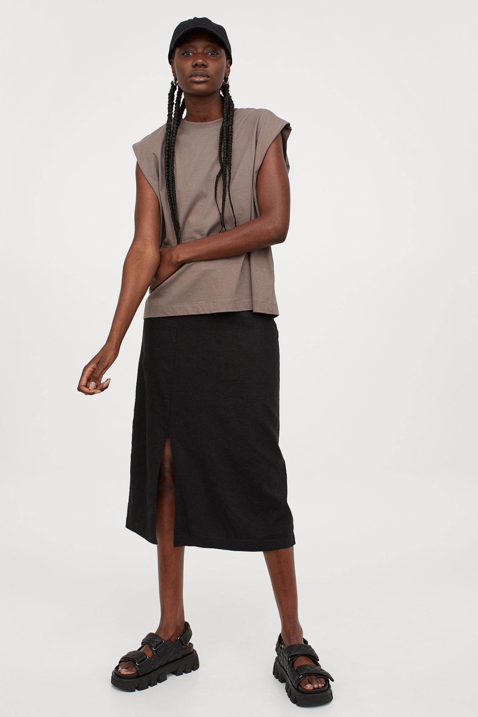 Falda en mezcla de lino